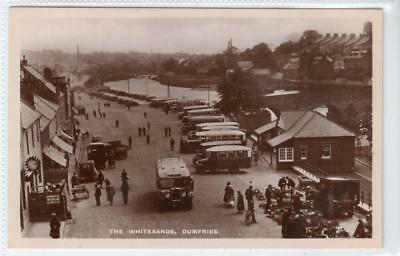 THE WHITESANDS, DUMFRIES: Dumfriesshire postcard with motor buses (C39635)