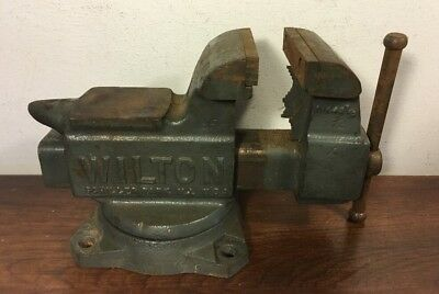 "Vintage Wilton 3 1/2"" Bench Machinist Swivel Base Vise 643 W Anvil USA"