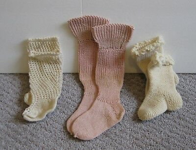 Vintage Doll or Baby Stockings lot of 3 crochet knit off-white and pink