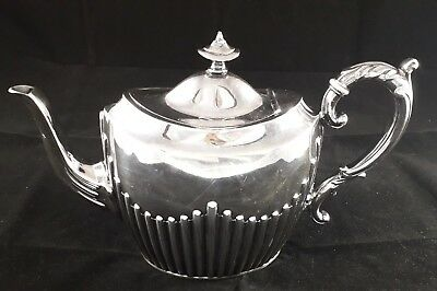 Beautiful Antique Victorian J Dixon Ribbed Silver Plated Epbm Tea Pot Vgc