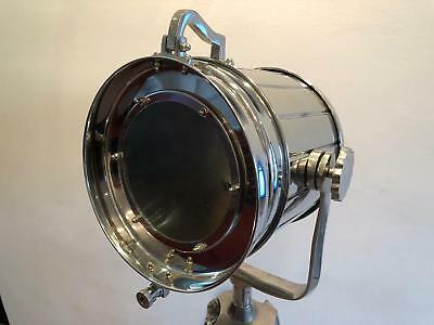 Classic Theatre Spot Light with Solid Wooden Tripod Floor Lamp Vintage Retro Old