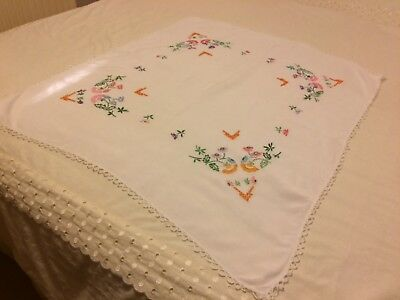Beautiful Vintage Linen White Floral Hand Embroidered Tablecloth