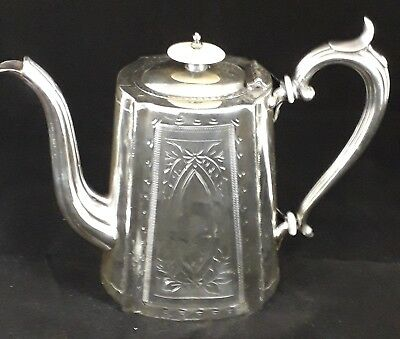Beautiful Quality Antique Victorian Ornate Silver Plated Epns Coffee Pot Vgc
