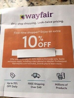 WAYFAIR COUPON: 10% off ENTIRE First Purchase- Exp. 1/31/19 -100% to pet shelter