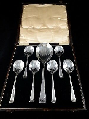BEAUTIFUL QUALITY ANTIQUE 1920s SILVER PLATED EPNS FRUIT PUDDING SPOONS CASED