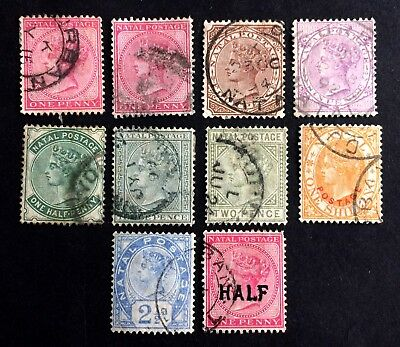 Queen Victoria Natal - 10 old used stamps