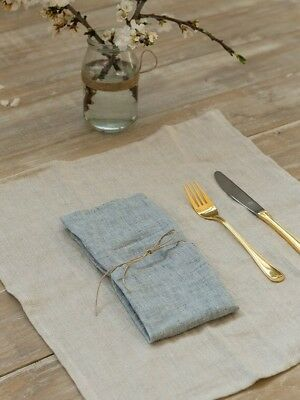 Washed Linen Napkins In Grey Blue 42x42cm X 10