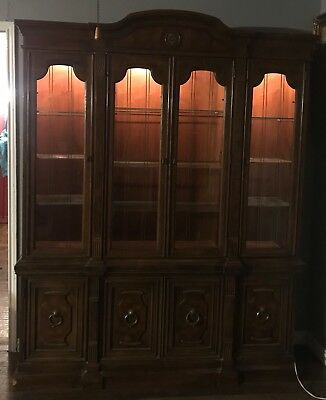 antique 10 chair dining room set with China cabinet
