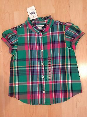 Polo Ralph Lauren Girl's Green Plaid Short Sleeve Top For 2 Years BNWT