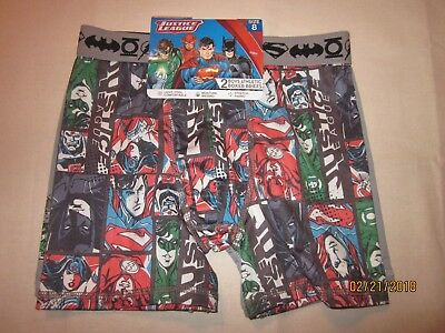 new 2 pr. BOYS ATHLETIC BOXER briefs JUSTICE LEAGUE character multi poly SZ 8