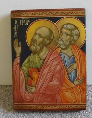 Paul and Peter Russian Icon Hand-painted 1980's Christianity Religious