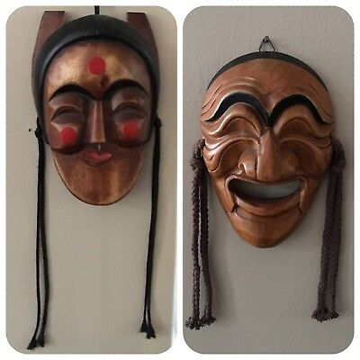 Lot of (2) Japanese Folklore Wood Mask hand carved  & painted Art Japan