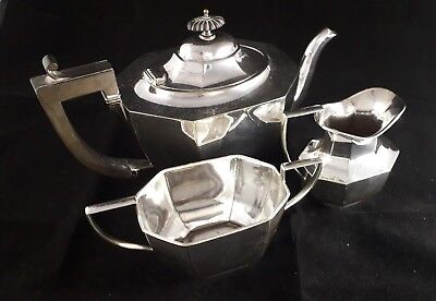 Superb Antique Octagonal Panel 3Pc Silver Plated Epns A1 Tea Pot Bowl Jug Set