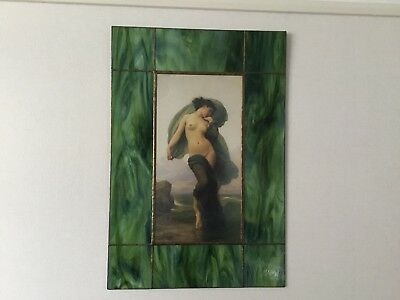 Beautiful  Framed Photograph On Glass Of A Nude With Leaded Glass Surround.