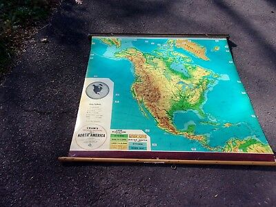 Old School House Pull Down Map - Crams Physical Political Map Of North America