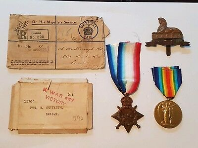 WW1 PAIR medals in original box & envelope Lincolnshire Regt address Old Kent rd