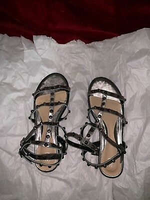842730b4637246 Missguided Women s Ankle Strap Dome Stud Gladiator Sandals HD3 Gray Size 9