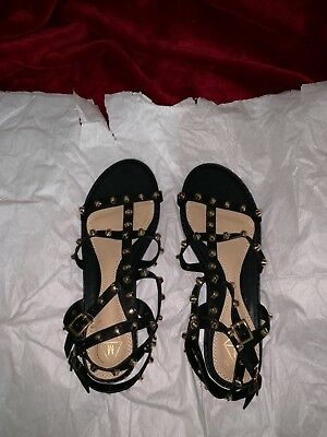 f75bd223382c28 Missguided Women s Ankle Strap Dome Stud Gladiator Sandals HD3 Black Size 9
