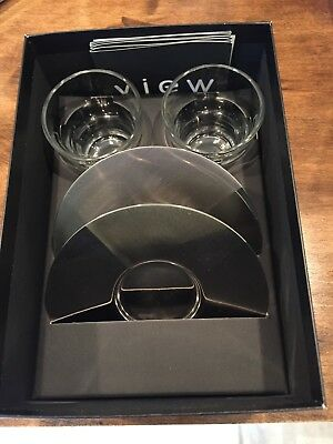 Nespresso View Set of 2 glass Espresso Cups  w/ Silver Saucers New in Box