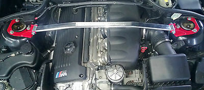 BMW E46 Front Strut Bar Brace M3 AC Alpina Hamann M-Tec Clubsport RED ends