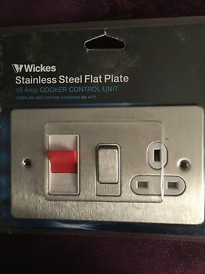 WICKES Flat Plate Cooker Control Unit 45 AMP + Socket Stainless Steel