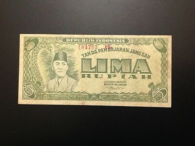 INDONESIA 5RUPIAH BANKNOTE 1947 SUKARNO- 3 letters UNCIRCULATED