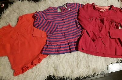 Girls 12-18 months long sleeve tops bundle x3 frilly winter spring m&s next day