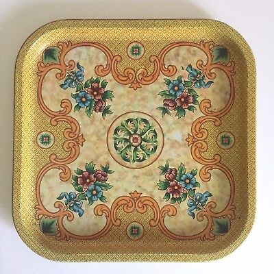 Vintage Mid Century Daher English Imperial Ornate Floral Enamel Tin Serving Tray