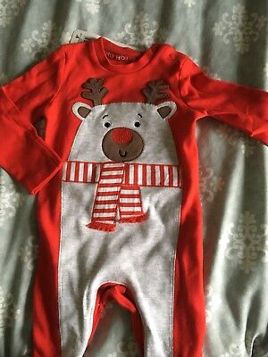 Christmas Sleep suit 0-3 Months Babygrow Santa Outfit First Christmas Red