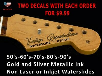 Custom Vintage Guitar Headstock Decals - Waterslides. Fit for Fender Headstocks
