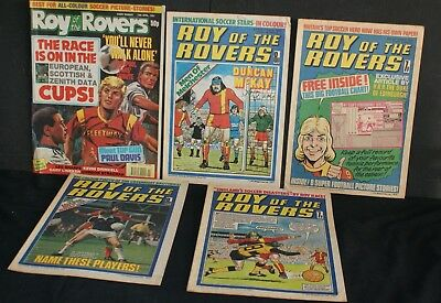 Five Old Issues of 'Roy of the Rovers' Comics from 1976 to 1991