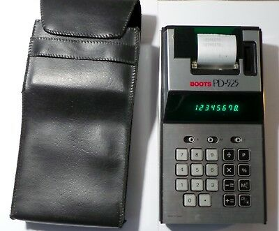 VINTAGE RETRO PRINTING CALCULATOR THE BOOTS PD-525 - c 1970's & BOOK & COVER