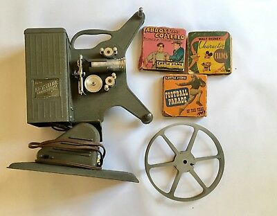 Vintage Movie Projector Keystone Moviegraph 16 mm D-752 and 3 Movies