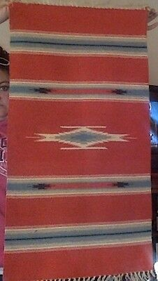 "Red Serape Native Rug 20"" X 38"""