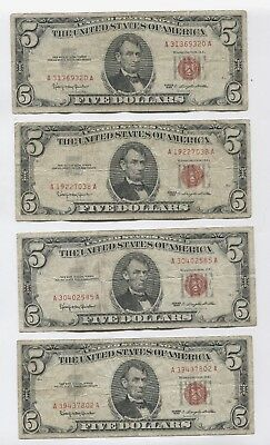 Nice Lot #3 All $5 Red Seal 1963 Bill Notes Old Currency. Penny Start, NR!