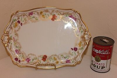 Antique T & V Limoges Porcelain Tray, Beautiful Gold Gilt, Hand Painted, 1904