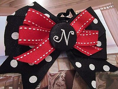 """LARGE HAIR BOW with Initial """"N"""""""