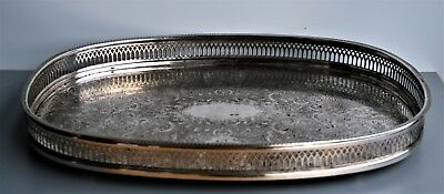 Vintage Oval Silver Plated Cavalier Made In England Serving Tray.