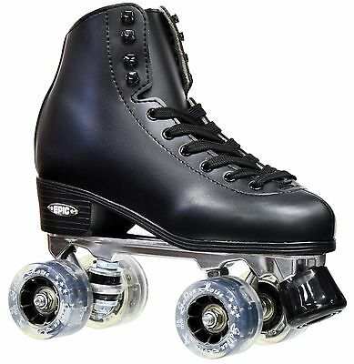 Epic Classic Black High-Top Quad Roller Skates w/ Smoke LED Light Up Wheels