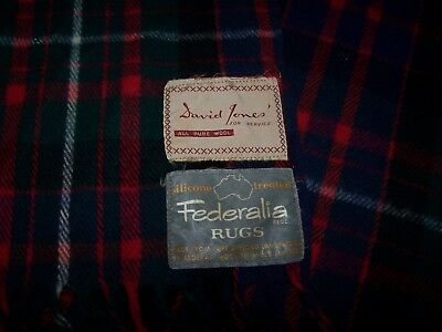 David Jones Federalia Geelong Lambswool Federal Woollen Mill Plaid Blanket 67x75