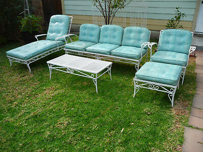Vintage Wrought Iron Patio Garden Mid Century Sofa Lounge Chair 5 Piece Set