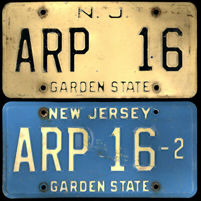 NEW JERSEY NJ - PAIR (sort of) License Plates #ARP 16 Courtesy Vanity Low Number