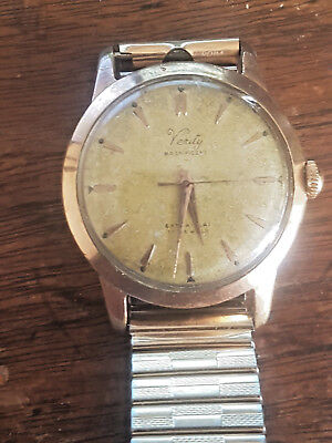 Vintage Verity Magnificent Gold Filled Mechanical Wrist Watch  very old  Working