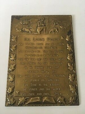 Vintage Brass THE LORDS PRAYER, OUR FATHER Metal Wall Plaque, MADE IN ENGLAND