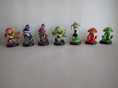 "SET OF 7: SPLATOON amiibo 3 ½"" Figurines, NINTENDO Wii U Game Fun, Inkling Squid"