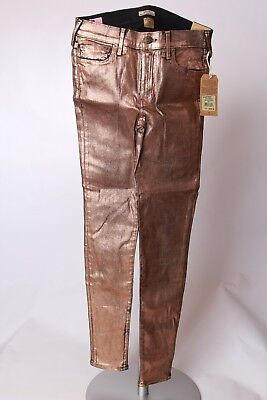 NWT True Religion Womens Halle Mid Rise Super Skinny Copper Metallic Jean SZ 28