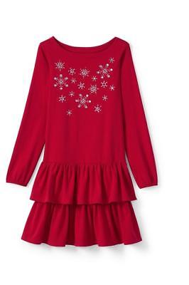238587e55d Lands End 5 6 Girls Cotton Tiered Ruffle Dress Holiday Christmas Red  Sparkle New