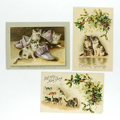 Vintage Christmas & New Year's Postcards CATS - Free Economy Shipping