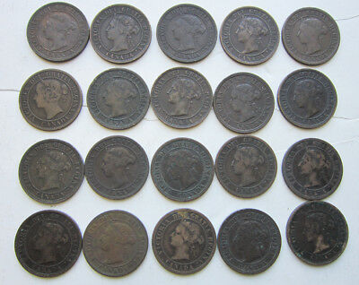 Lot of 20 Canadian Large Pennies: Queen Victoria: Nice