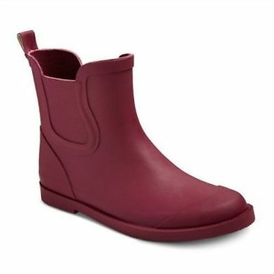 Nwt Cat & Jack Girls Ankle Rubber Rain Boots Size 5 Pink / Cranberry